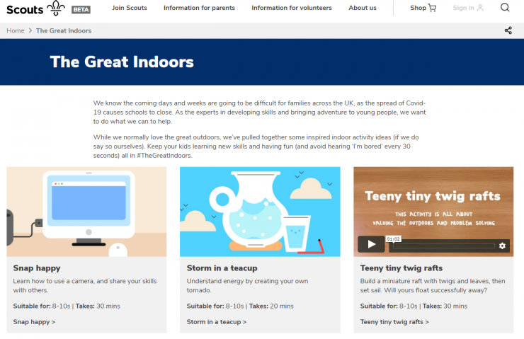 Screenshot Great Indoors Angebote der UK Scouts